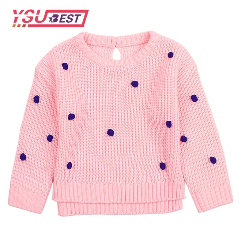 Dots Crochet Sweater For Girls Newborn Baby Boys Knit Pullovers Spring Outerwear Children Kids Knitwear Long Sleeve Jumper Pink