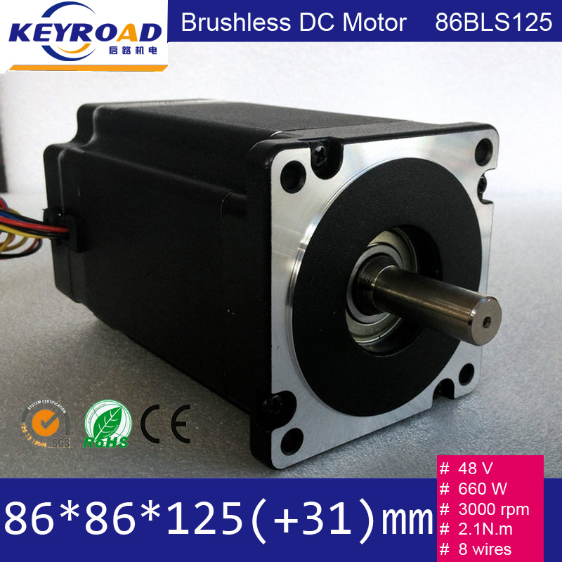 Low noise 86mm 48v 660w 3000rpm 3 phase brushless dc motor for Brushless dc motor suppliers