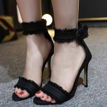 Spring Summer Jeans women shoes high heel 2018 Sandals Girls Denim Ankle Strap High Heels Shoe Sexy Female Stiletto Wedding Shoe цены онлайн