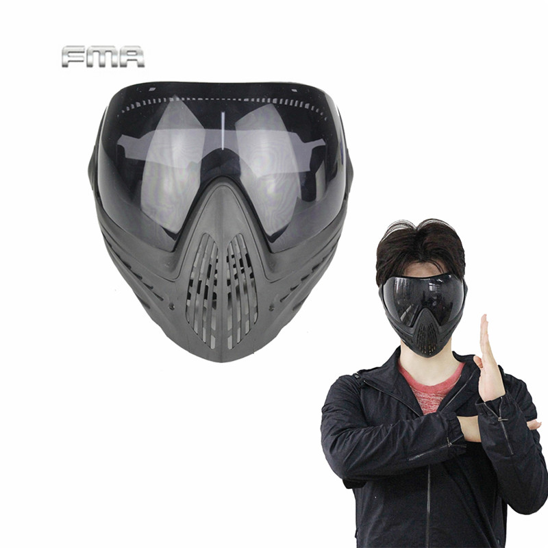 Airsoft Paintball Safety Anti-fog Protective Goggle Full Face Mask and Black Lens for Military Cs War Game Breathable Face