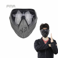 Airsoft Paintball Safety Anti Fog Protective Goggle Full Face Mask And Black Lens For Military Cs