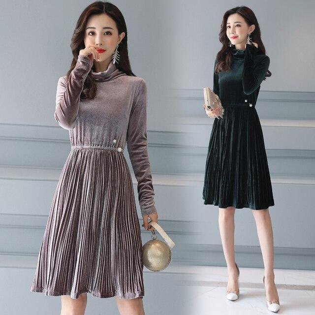 US $25.88 |2018 Autumn and Winter women pleated turtleneck dress,Plus size  Spring long sleeve velvet dresses Ladies office Dress Vestidos -in Dresses  ...