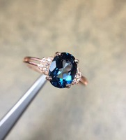 Natural Blue Topaz Gemstone S925 Sterling Silver rose glod Ring Diamond Women Fine Jewelry