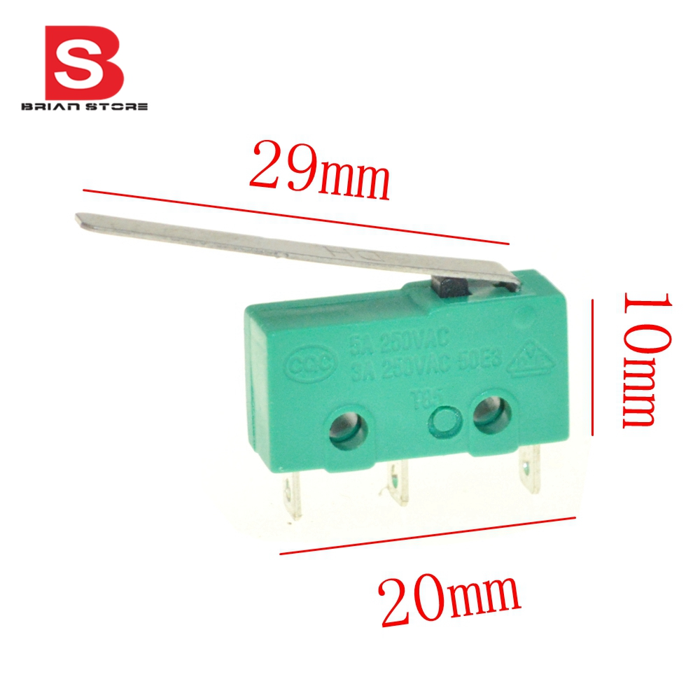 50PCS mini safety limit switch micro contact switch 3 pin micro switches n/c n/o with long lever free shipping