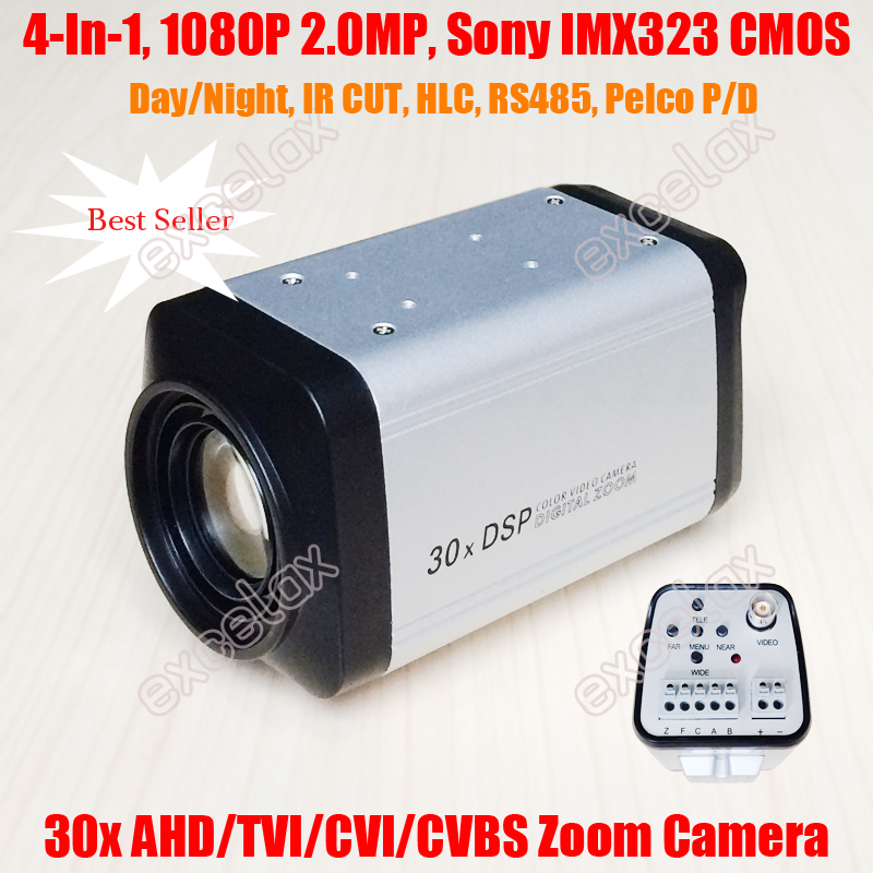 4 In 1 AHD TVI CVI CVBS Output 1080P 2MP 30x IMX323 CMOS CCTV Zoom Camera