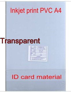 Transparent Blank Inkjet print <font><b>PVC</b></font> <font><b>sheet</b></font> for <font><b>PVC</b></font> ID card making , business card , membership card 300x200mm 0.76mm thick image