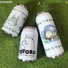 OUSSIRRO Creative Cans Mug Stainless Steel Totoro Thermos Portable Unisex Students Personality Trendy Straw Cup W2687