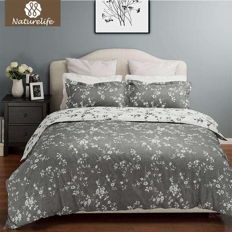 naturelife polister suave juego de cama sbana cubierta moderno juegos de cama impresa flor cama