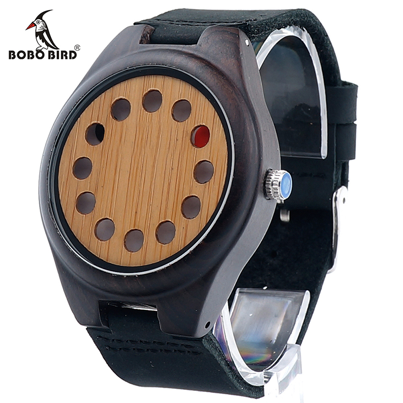 BOBO BIRD V-F06 12 Holes Design Wooden Watch Mens Leather Quartz Watch with Brown Leather Band in Gift Box bobo bird wh29 mens zebra wood watch real leather band cool visible quartz wooden watches for men with gift box dropshipping