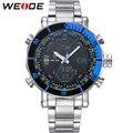 WEIDE New Luxury Brand Stainless Steel Band Analog Digital Waterproof Men's Quartz Clock Sports Watches Men Military Wrist Watch