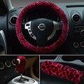 Mulheres desconto Universal Leopardo de Pelúcia Volante de Carro Cobre & Gear & Tampa do freio de Mão 3 pcs Set-Rosa