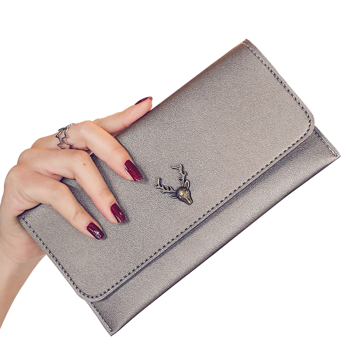 Clutch Wallets Lady Purses PU Leather Long Girls Deer Wallet Cards ID Holder Moneybags Clips Female Envelope Bags Women Wallet 100% wax oil cowhide vintage wallets female money clips real leather clutch wallet for women credit cards change purses 2014 new