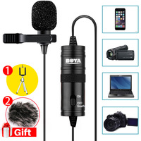 BOYA BY M1 3 5MM TRRS Plug Omnidirectional Lavalier Lapel Clip On Condenser Microphone With 1