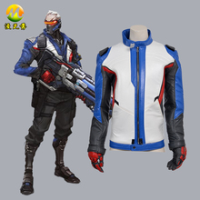 Hot Game Cosplay Coat Soldier 76 Jacket Cosplay Costumes for Adult Men Jacket+Gloves Halloween Apparel Clothes