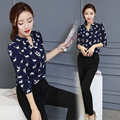 In the spring of 2017 the new women's fashion shirt Korean slim two piece all-match loose shirt printing