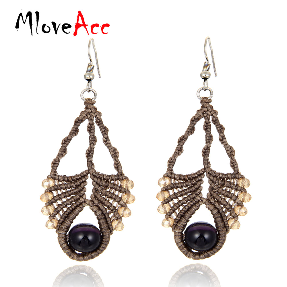 MloveAcc Vintage Handmade Braided Drop Earrings for Women Natural Stone & Crystal Winter Style Retro Jewelry Daily Wear Earrings