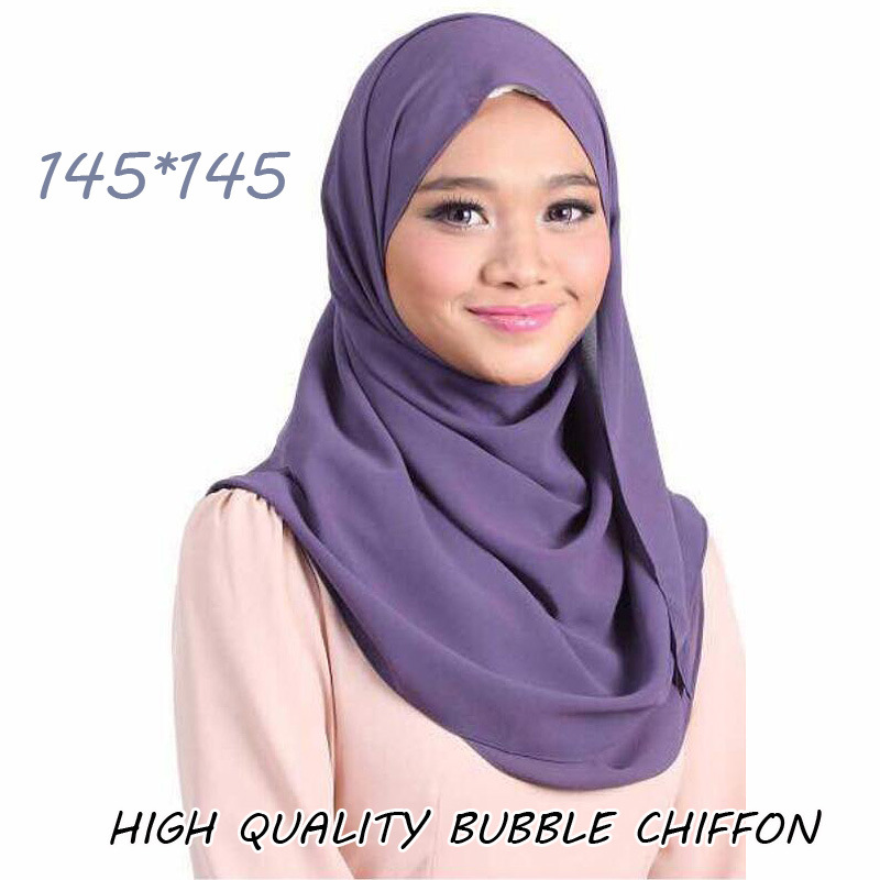 145*145Cm Women's Plain Big Square Bubble Chiffon Instant Shawl Scarf High Quality Wrap Echarpe Foulards Headband Muslim Hijabs