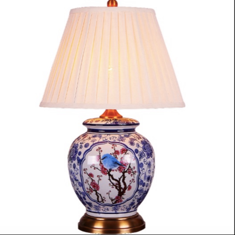 Classical Chinese Country Hand painted Blue Ceramic Fabric Led E27 Table Lamp for Living Room Bedroom Study Deco H 51cm 2182 1pcs laser minnow fishing lure 11cm 13g pesca hooks fish wobbler tackle crankbait artificial japan hard bait swimbait