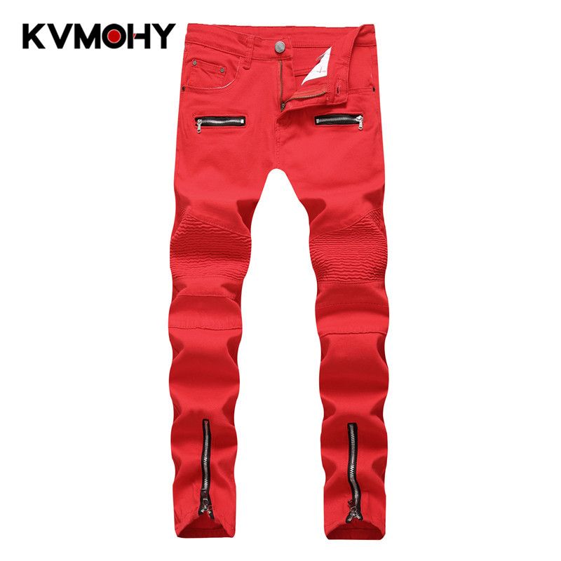 Men Jeans Fashion  Denim Pants Zipper Biker Jeans Plus Size Male Slim Skinny Jean Hip Hop Red White  Straight Trousers