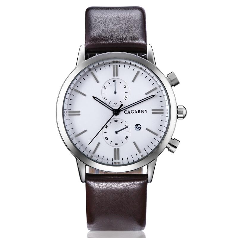 Cagarny Watch Men Luxury Brand Men's Quartz Watches Men Casual Wristwatches Leather Watchband Date Quartz-Watch 10pcs Wholesale
