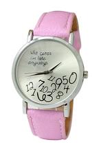 Arabic numerals Leatherlet watch Quartz Analog, Unisex Watch, Pink