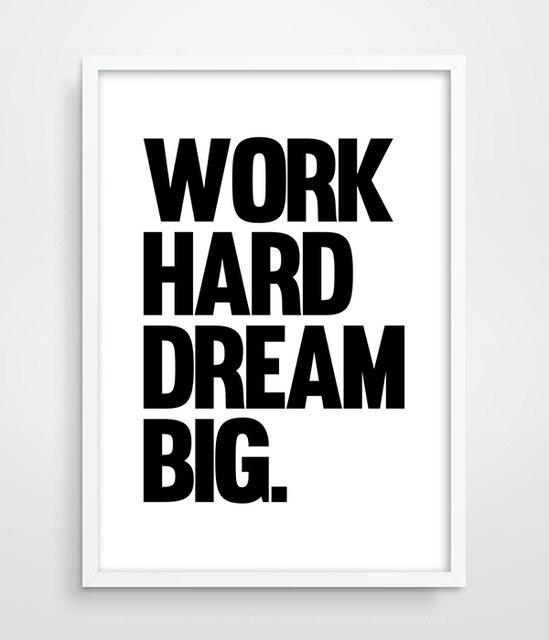 Hart arbeiten Traum Große Typografie print Poster Motivation ...