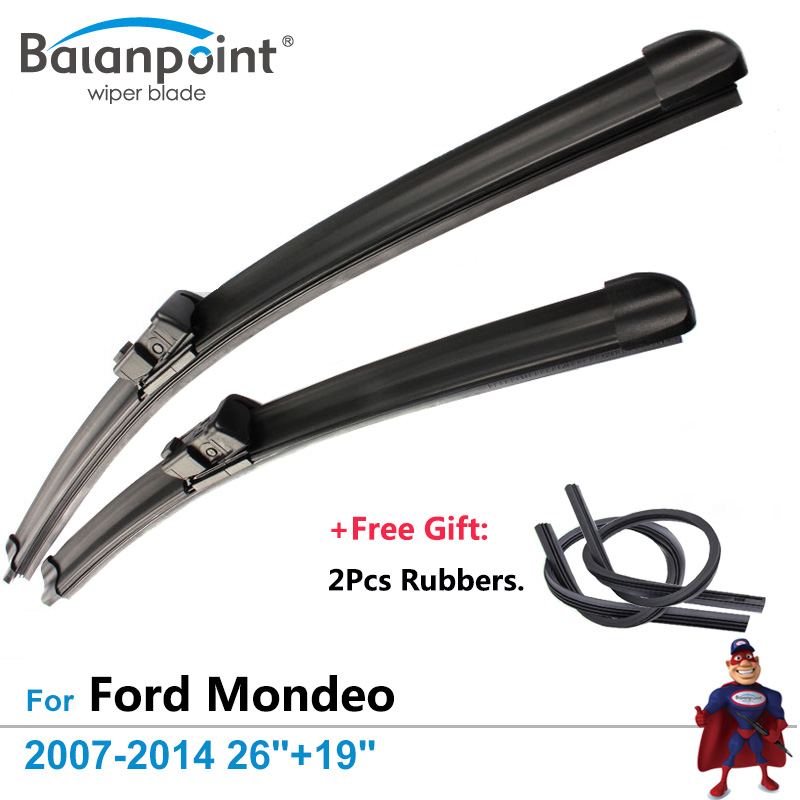 2Pcs Wiper Blades + 2Pcs Free Rubbers for Ford Mondeo Estate/ Hatchback/ Saloon 2007-2014 26+19, Best Auto Accessories