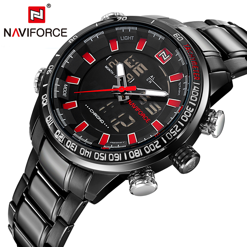 New Brand NAVIFORCE Watch Men Sport Military Quartz Wristwatches Waterproof Stainless Steel Men's Watch Relogio Masculino Box amst brand men stainless steel business quartz watch date casual waterproof fashion military wristwatches with gift box 2016 new