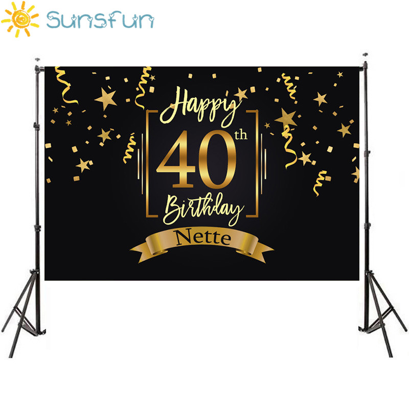 Sunsfun Happy <font><b>40th</b></font> <font><b>Birthday</b></font> Party <font><b>Backdrop</b></font> Black Gold Little Stars Ribbons Photography Backgrounds Customized 7x5FT Vinyl image