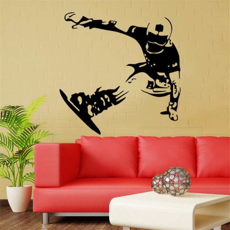 ZM63 Snowboard Skiing Wallpaper Skating Board Stickers Boys Bedroom Vinyl Decals Wall Art Mural Poster Home Decor
