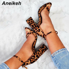 Aneikeh NEW Summer 2019 Fashion Sexy Leopard Grain Sandals Flock Peep Toe Heels