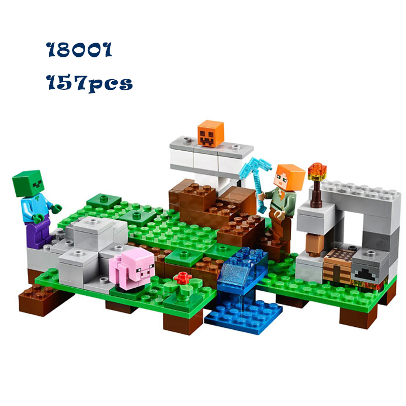 LEPIN 18001 Model building kits compatible with lego my worlds MineCraft blocks Educational toys hobbies for children 21123 lepin 02025 city the high speed racer transporter 60151 building blocks policeman toys for children compatible with lego