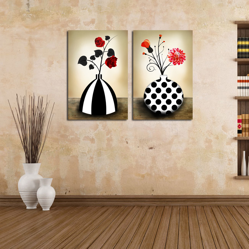 Flower Vase Canvas Prints Retro Black And White Abstract