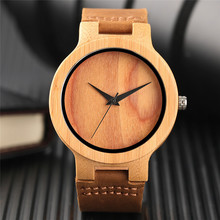 Nature Wood Quartz Watches for Men Women Genuine Leather Band Strap Novel Creative Watch Wooden Modern Green/Brown Dial Clock