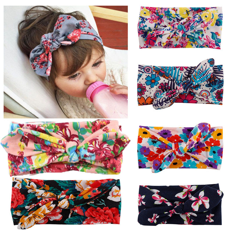 Korean  Kids Girl New Born  New Born Flower Floral Bow Hairband Turban Knot Rabbit Headband Headwear Hair Accessories free shipping and hand customize new style20pcs blessing good girl modern style headband accessories hyacinth garland hair bow