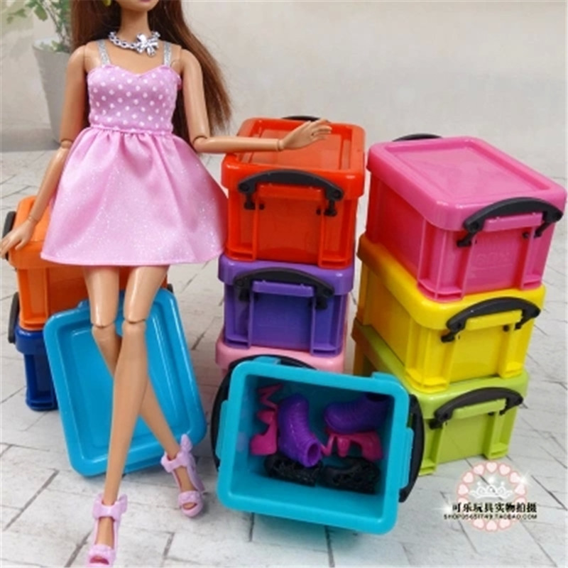 Genuine Plastic Shoes Clothes Organizer Collector Box For Barbie Monster  Inc Hight Doll House Furniture Accessories ...