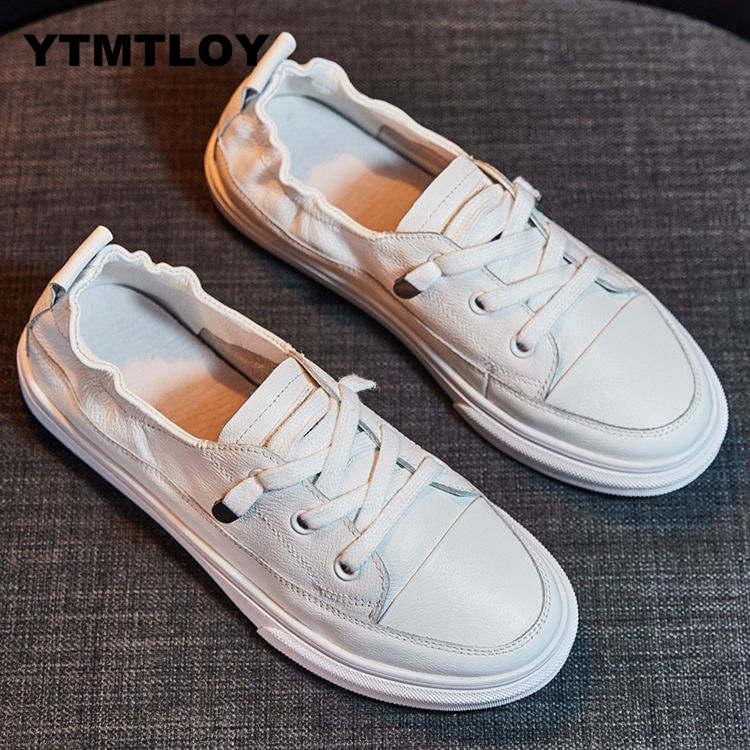 2019 Spring Surface White Casual Breathable Flats Fashion Lace-Up Sneakers  Women Vulcanized Shoes Leather  Platform Shoes