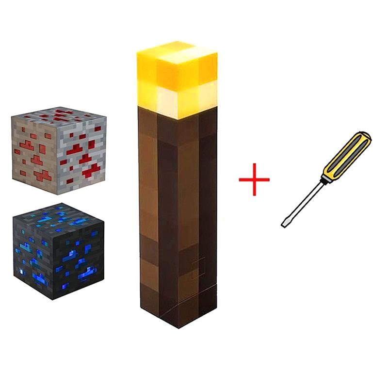 Light Up Minecraft Torch LED Lamp Wall Mount Decorations Game design stone Ore Square Light Figure