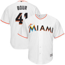 MLB Hommes Miami Marlins de Justin Bour Baseball Blanc Accueil Fraîche Base  de Jersey