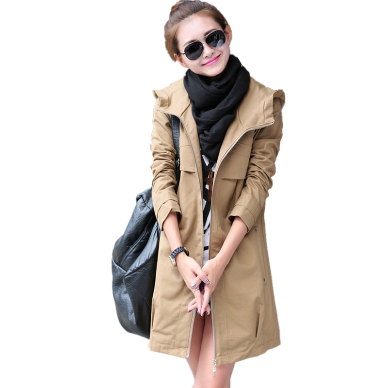 2019 Spring Autumn New Fashion Plus Size Women Coat Casual Hooded Long   Trench   Coat Female Slim Solid Thin Outerwear