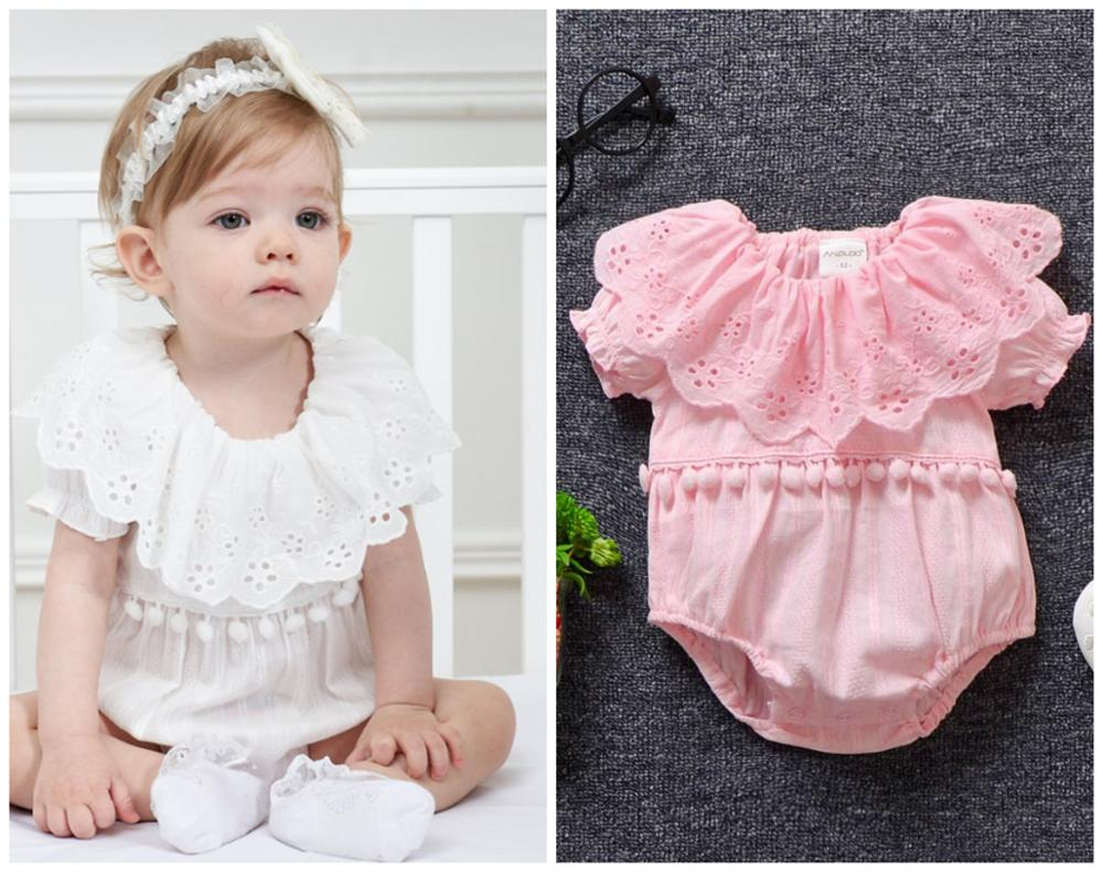 Newborn baby summer bodysuit clothes girls twins daily party bodysuit+headband