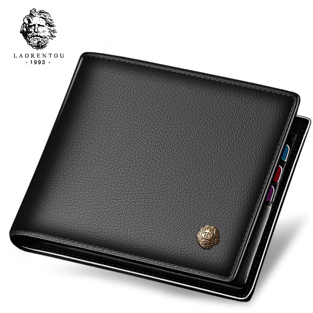 Laorentou Wallet Men 100% Genuine Leather Short Wallet Vintage Cow Leather Casual Men Wallet Purse Standard Holders Wallets