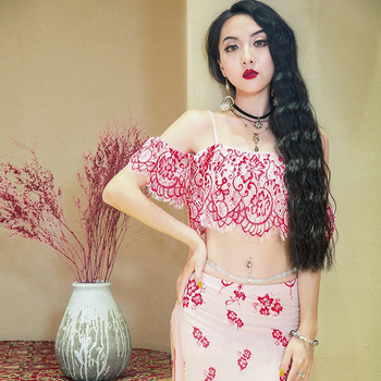 New Belly Dance Costume Female Belly Practice Red Skirt Oriental Dance Costume For Women Professional Belly Dance 2PCS DQL1284