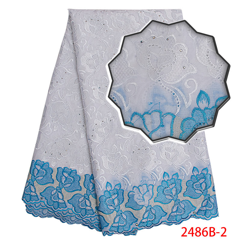 2019 High Quality Swiss Voile Lace,Swiss Cotton Lace White Lace Fabric With Stones,African Lace Material Swiss Voile KS2486B-2