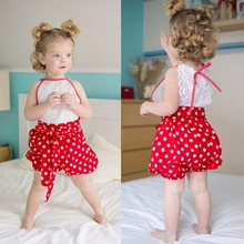 Puseky 2017 Cute Child Woman Garments Set Child Ladies Lace Floral Princess Romper Dotted Bloomers Set Outfit Clothes Child Woman Zero-24M