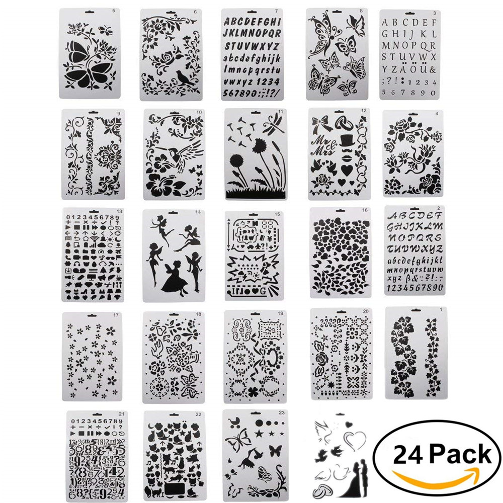 Stencils For Diy Scrapbooking And Children Creation, Christmas Theme Drawing Painting Stencil Set, 26cm X 17.5cm