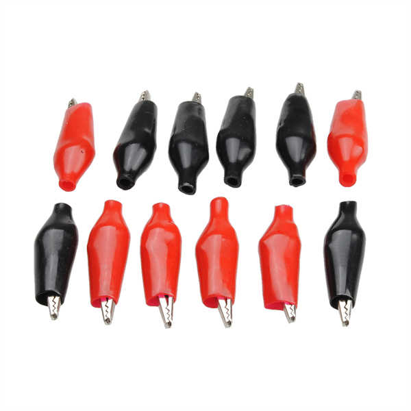 12 adet timsah klip kırmızı siyah yalitim Boot Metal elektrikli Test aksesuarları evrensel küçük bahar klip timsah klipleri