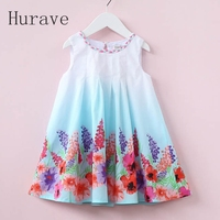 Hurave 2017 Casual Style Summer Children Dress For Kids Floral Print Dress Girls Sleeveless Princess Vestidos
