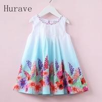 Hurave 2017 Casual Style Summer Children Dress For Kids Floral Print Dress Girls Sleeveless Princess Vestidos