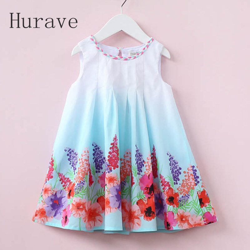 Hurave 2018 Casual Style Summer Children Dress For Kids Floral Print Dress Girls Sleeveless Princess Vestidos Robe Fille kids girls flamingo a line dress bady girl mini dress cotton casual short sleeve striped print dress kid robe children vestidos